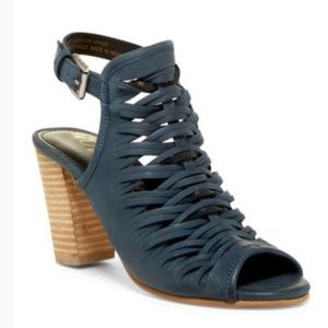 SAM EDELMAN Blue Leather Holly Stacked Heel Size 6